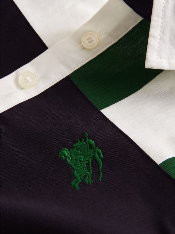 Long-sleeve Striped Cotton Polo Shirt in Racing Green/white | Burberry - cell image 1