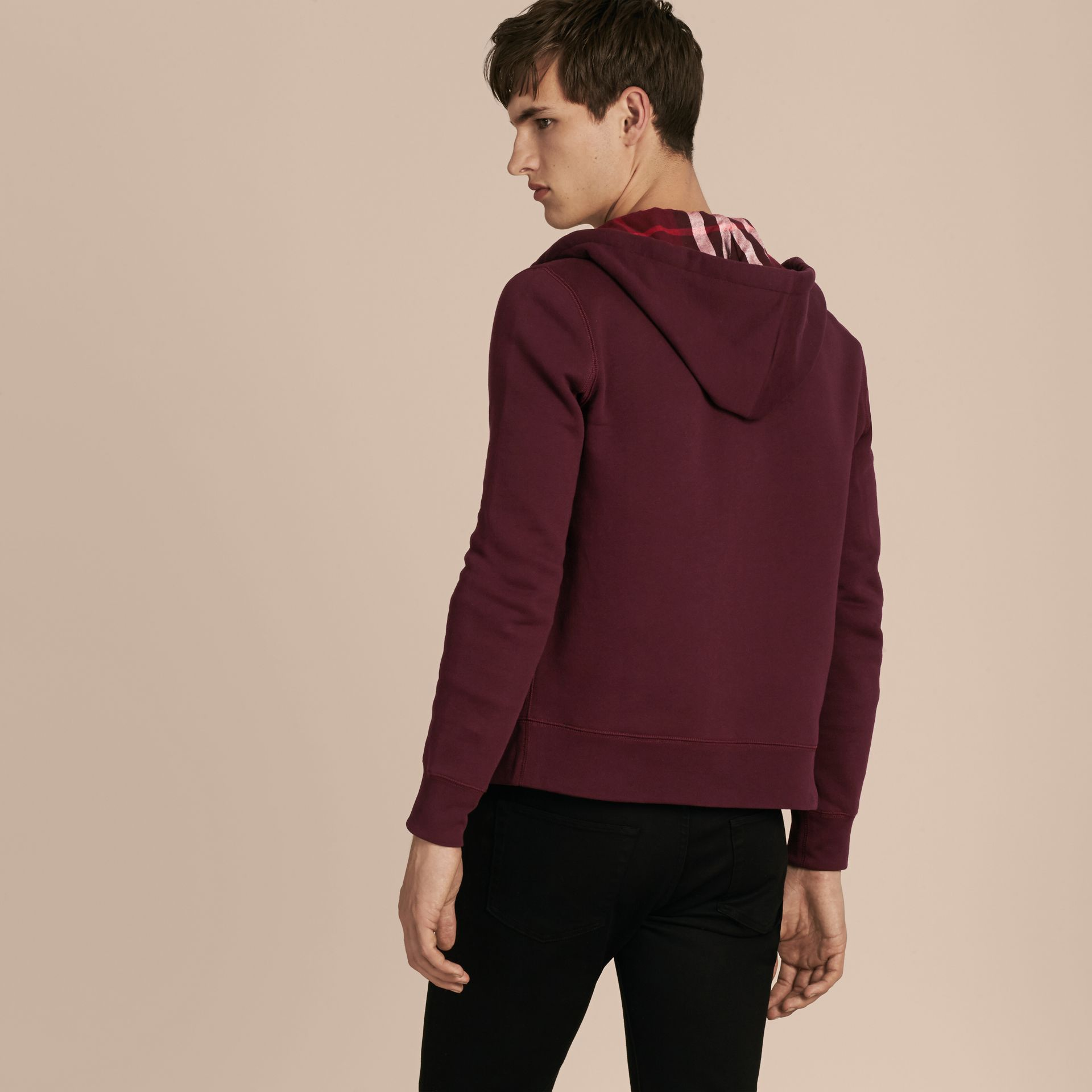 Deep claret Hooded Cotton Jersey Top - gallery image 3