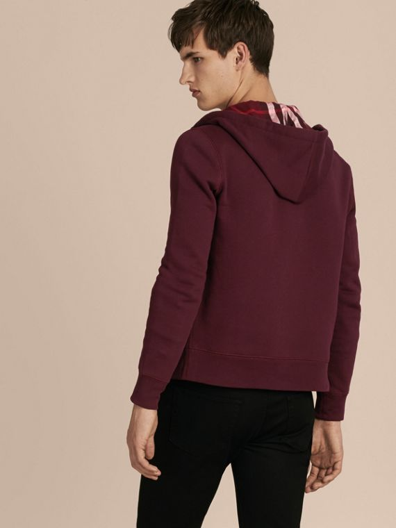 Deep claret Hooded Cotton Jersey Top - cell image 2