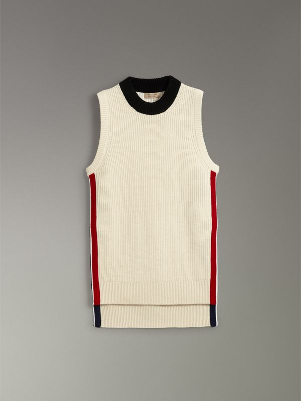 Rib Knit Wool Cashmere Vest in Natural White - Women | Burberry - cell image 3