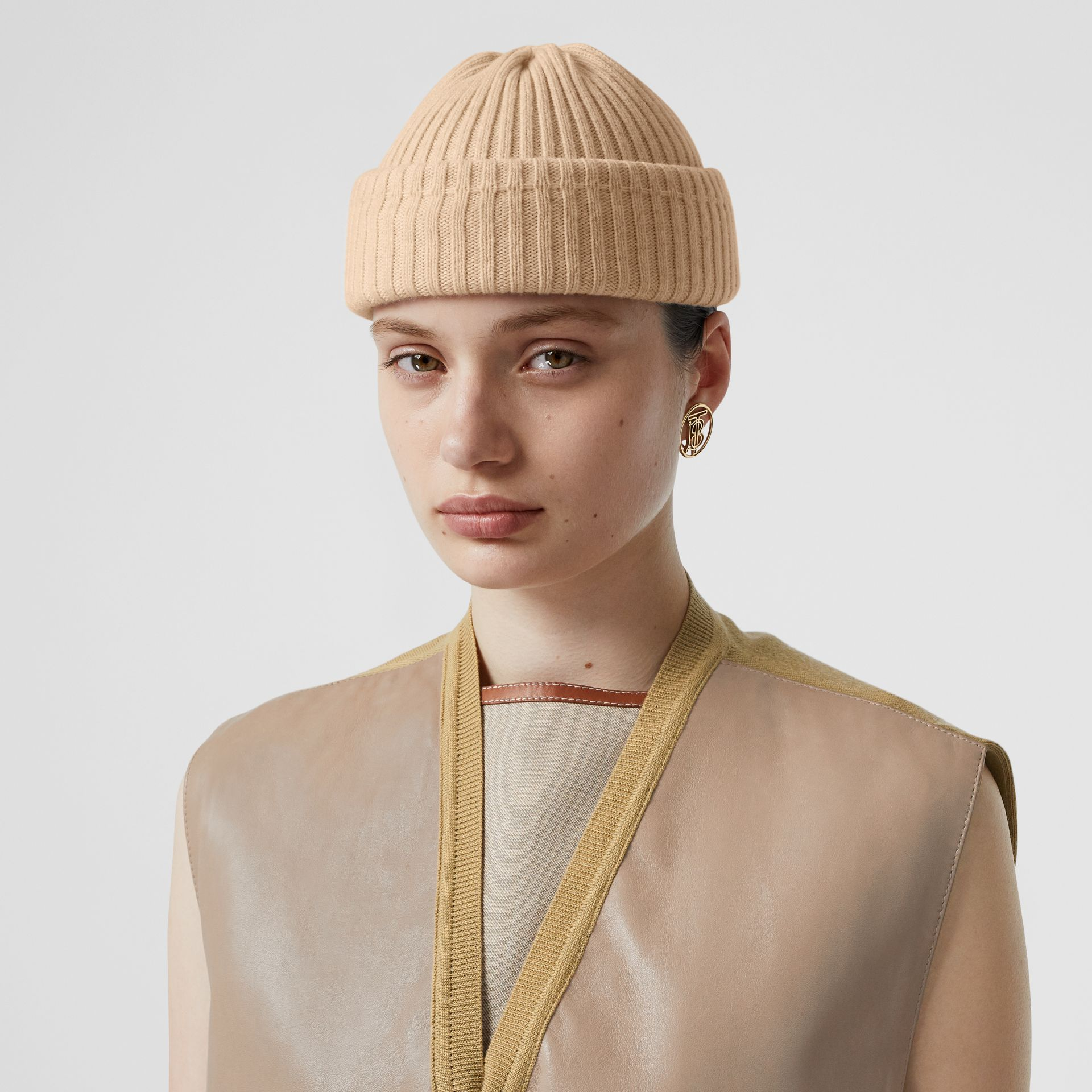 Rib Knit Wool Beanie in Beige | Burberry United States - gallery image 2