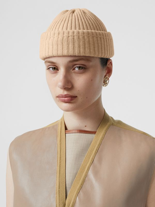 Rib Knit Wool Beanie in Beige | Burberry United Kingdom - cell image 2