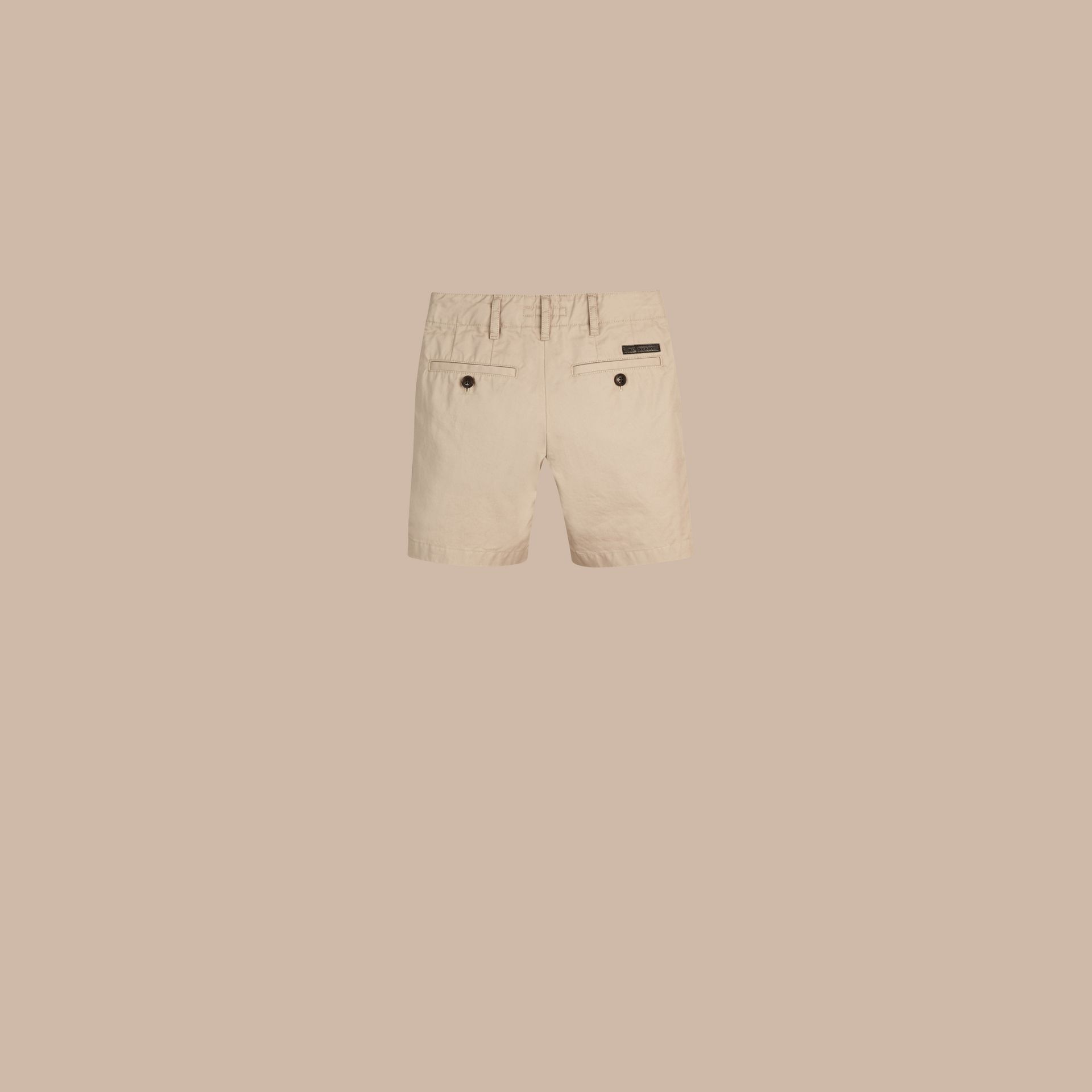 Check Detail Cotton Chino Shorts in Taupe - gallery image 3