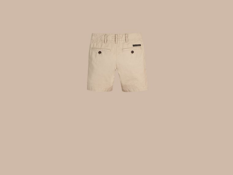Taupe Check Detail Cotton Chino Shorts Taupe - cell image 2