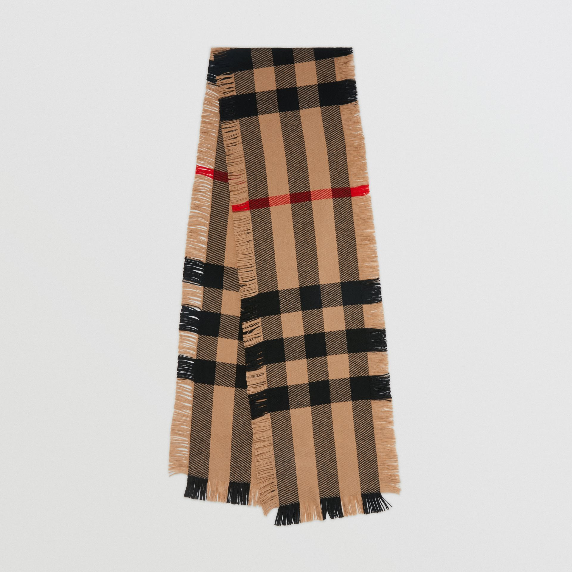 Fringed Check Wool Scarf in Camel | Burberry - gallery image 0