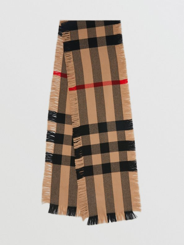 Fringed Check Wool Scarf in Camel