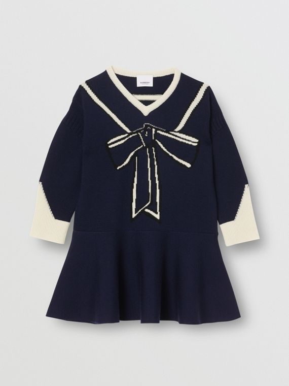 Trompe L'Oeil Intarsia Wool Cashmere Dress in Navy