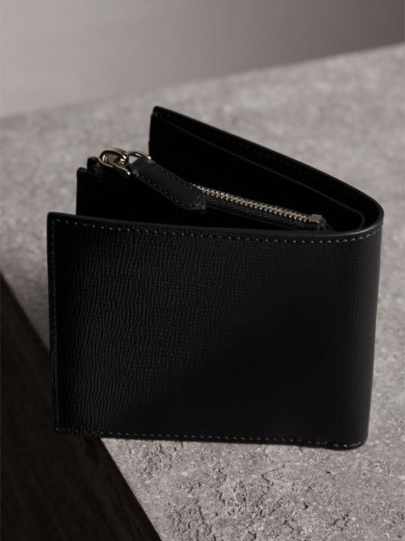 Leather International Bifold ID Coin Wallet in Black - Men | Burberry - cell image 3