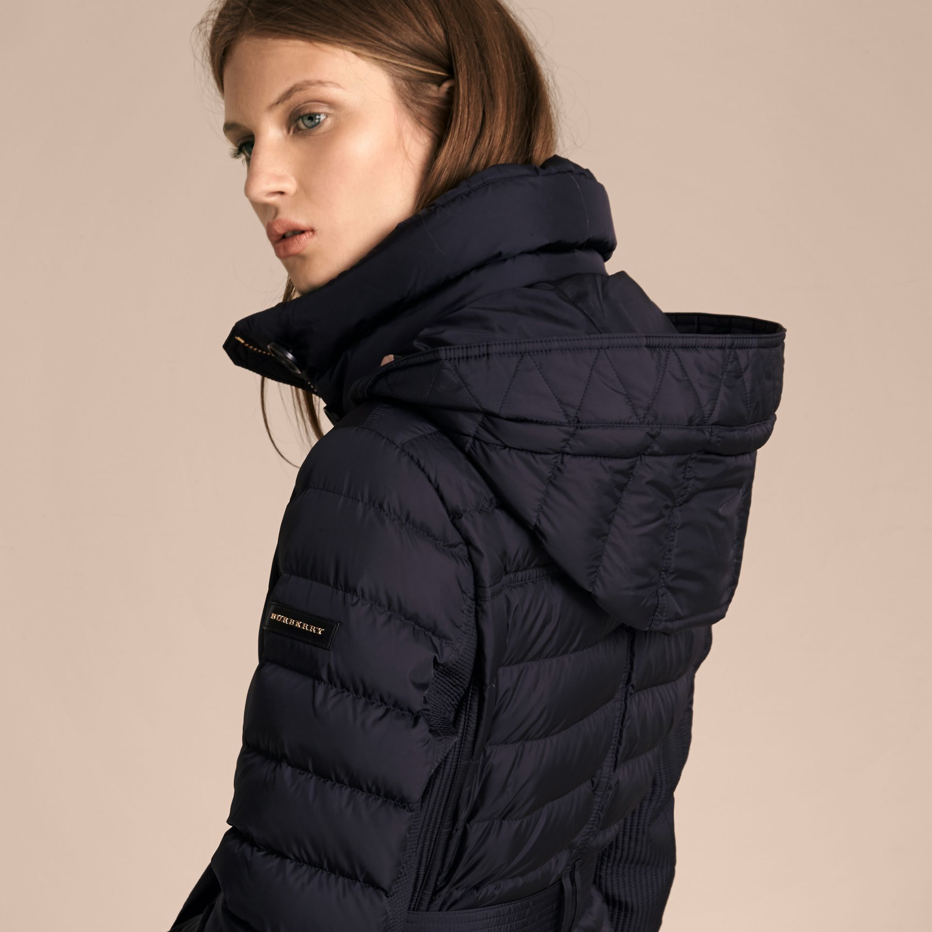 Navy Slim Fit Down-filled Parka with Fur Trim Navy - gallery image 5