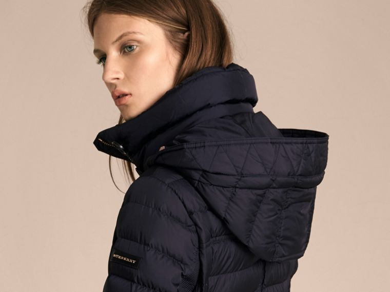 Navy Slim Fit Down-filled Parka with Fur Trim Navy - cell image 4