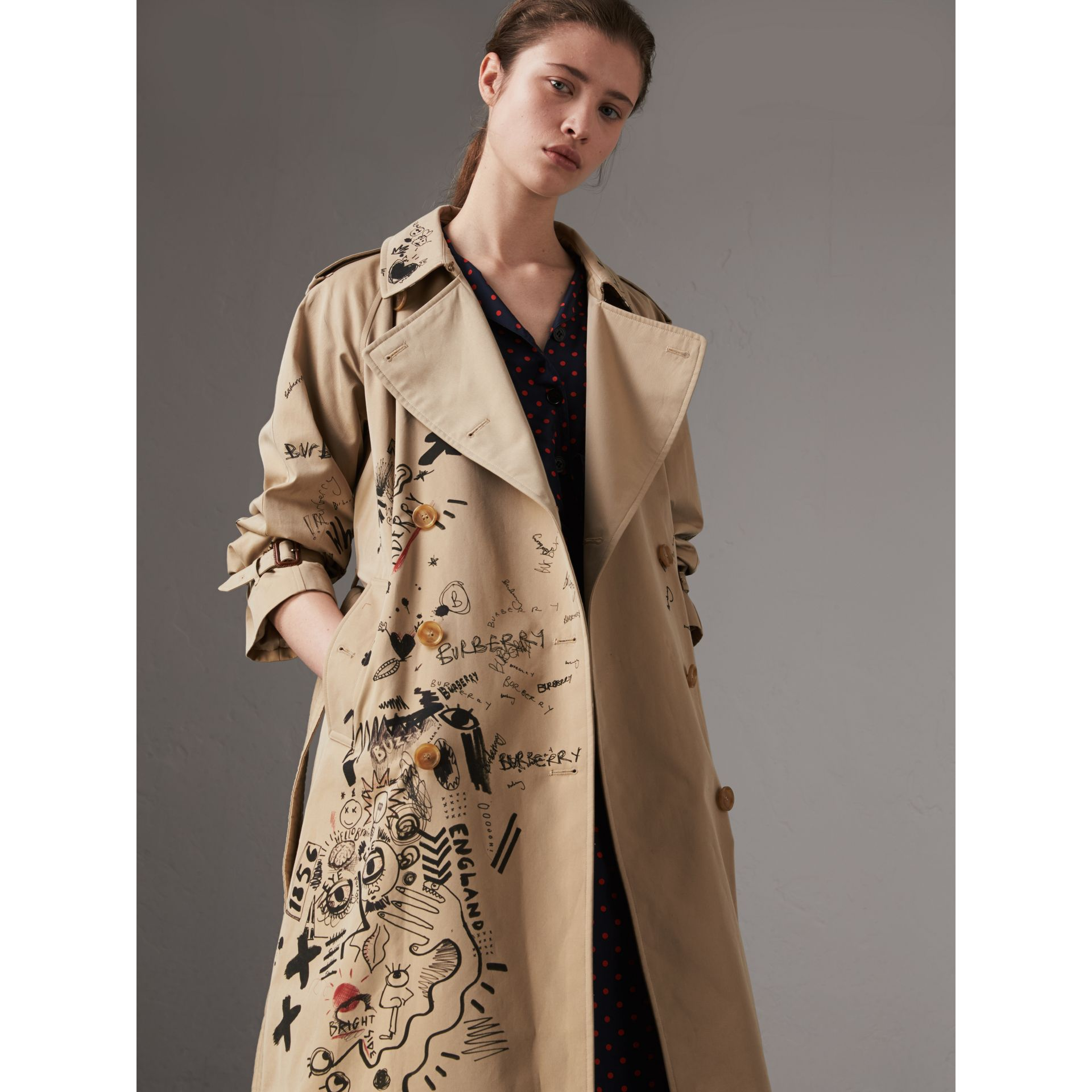 Sketch Print Cotton Gabardine Trench Coat in Honey - Women | Burberry Singapore - gallery image 0