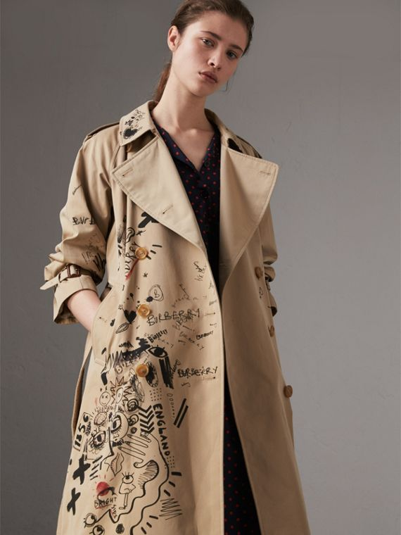 Sketch Print Cotton Gabardine Trench Coat in Honey