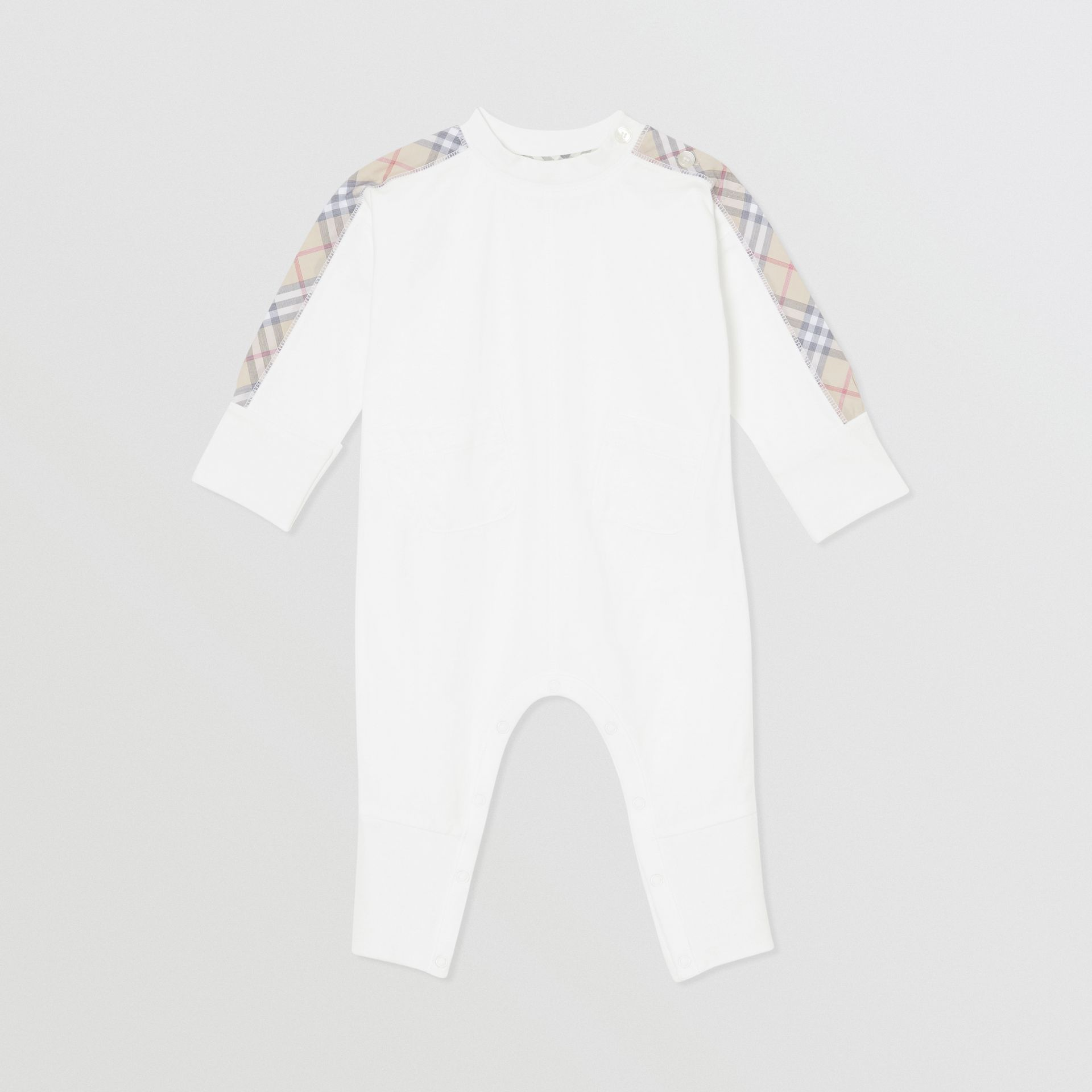 Check Cotton Three-piece Baby Gift Set in White - Children | Burberry United Kingdom - gallery image 2