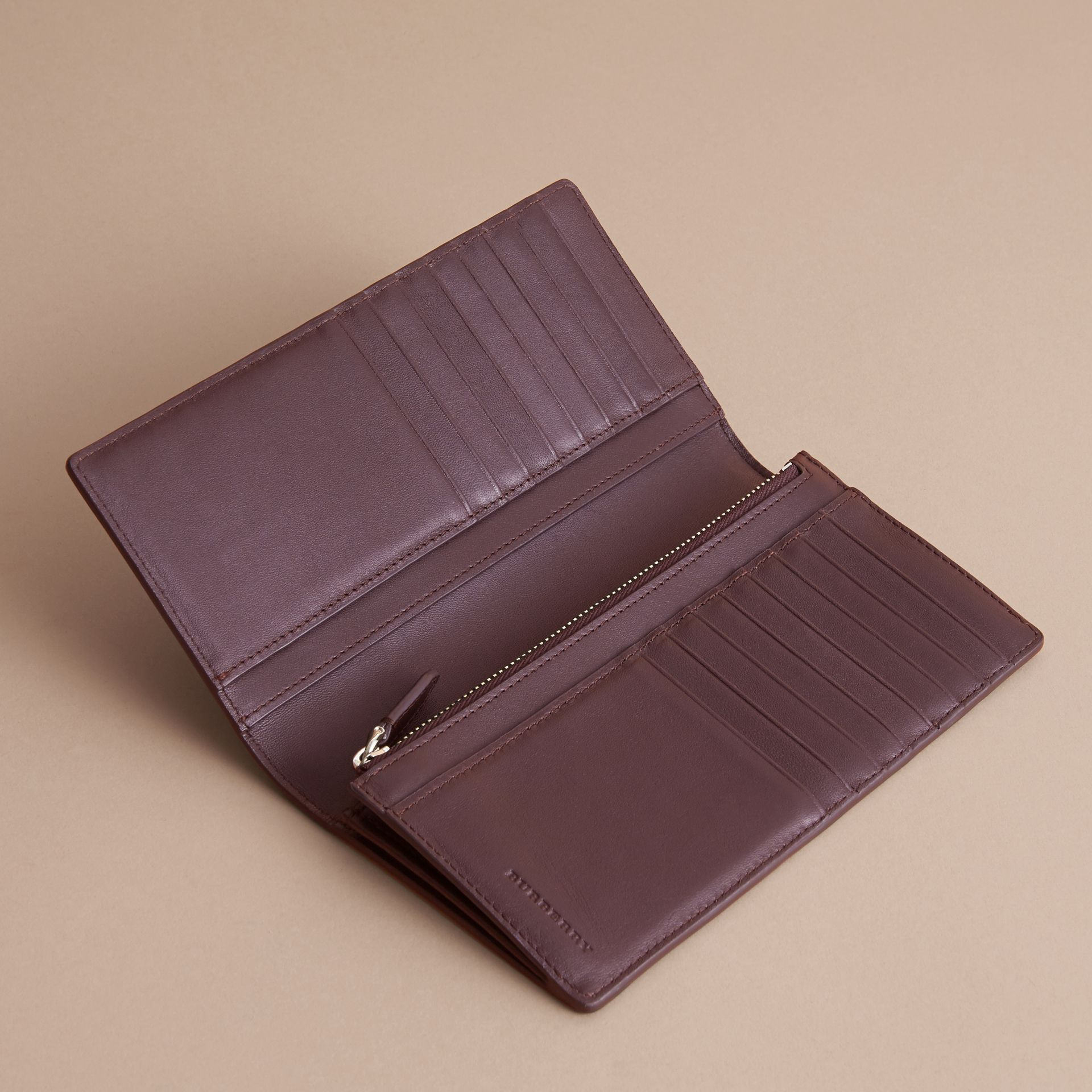 London Check and Leather Continental Wallet in Deep Claret - Men | Burberry Canada - gallery image 5
