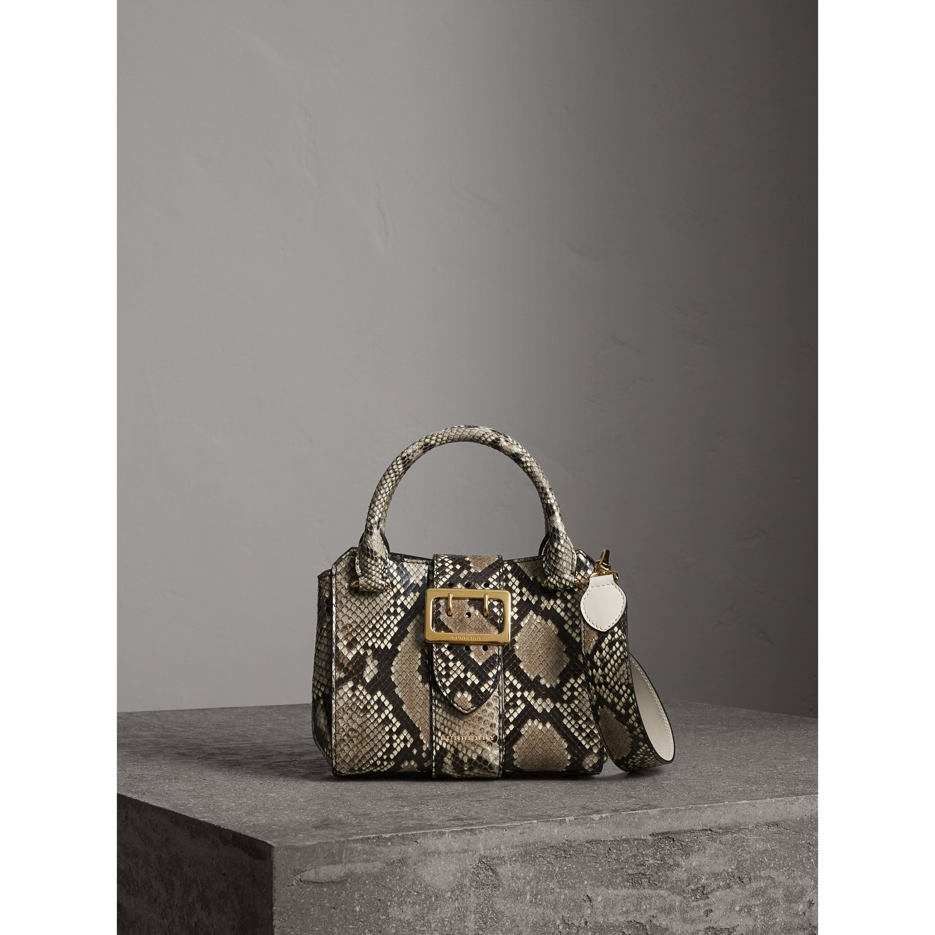 The Small Buckle Tote in Python in Natural - Women | Burberry - gallery image 1