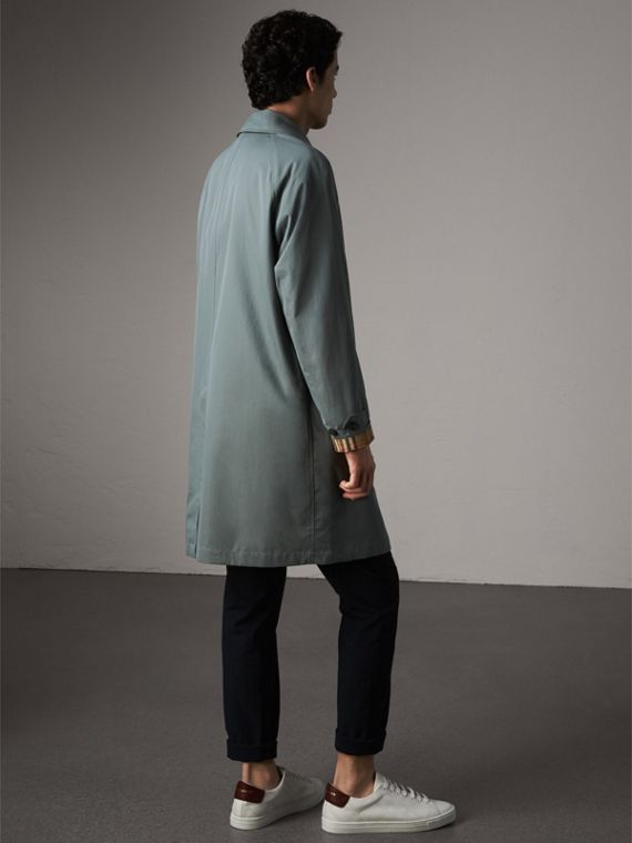 The Camden – Long Car Coat in Dusty Blue - Men | Burberry - cell image 2