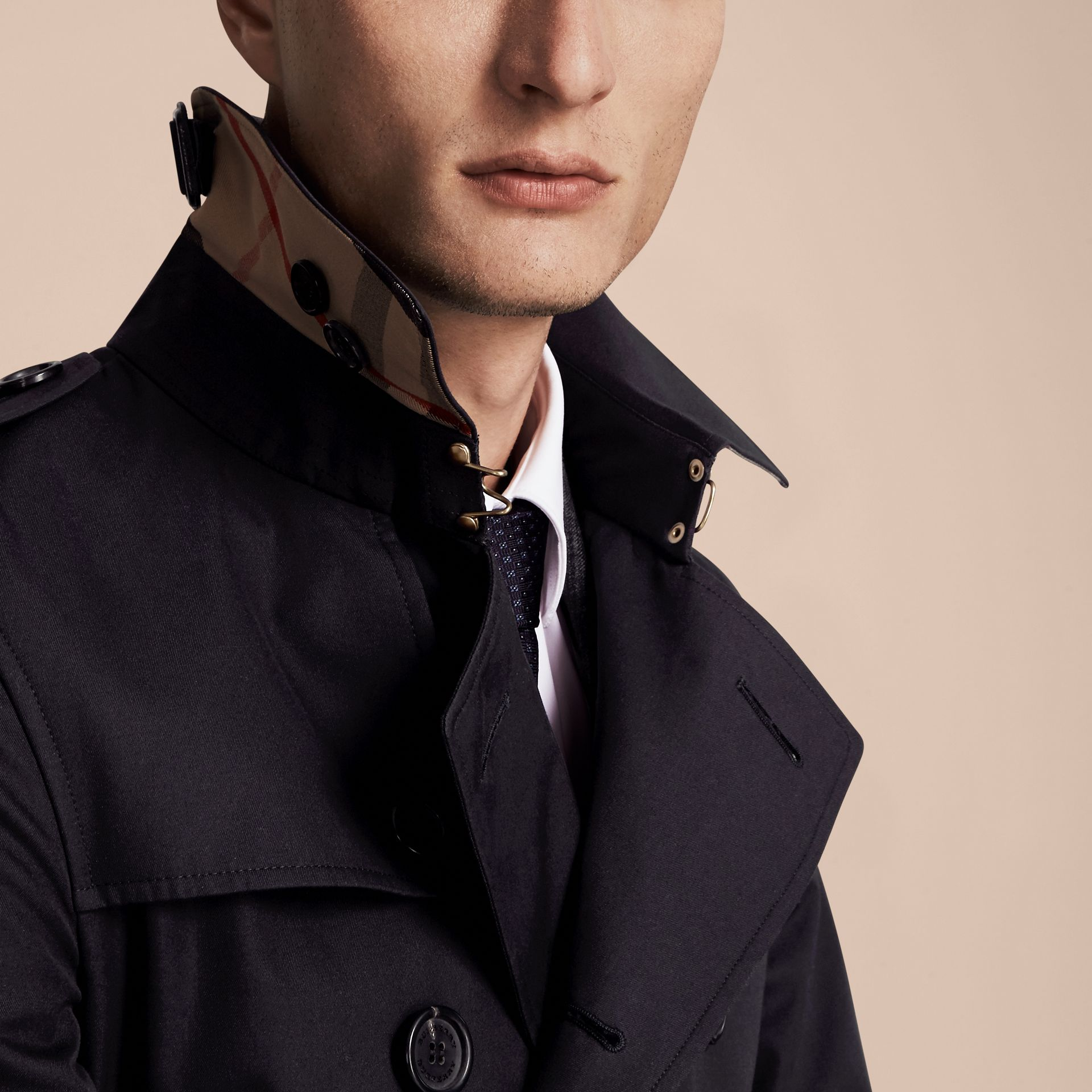 Navy The Chelsea – Long Heritage Trench Coat Navy - gallery image 5