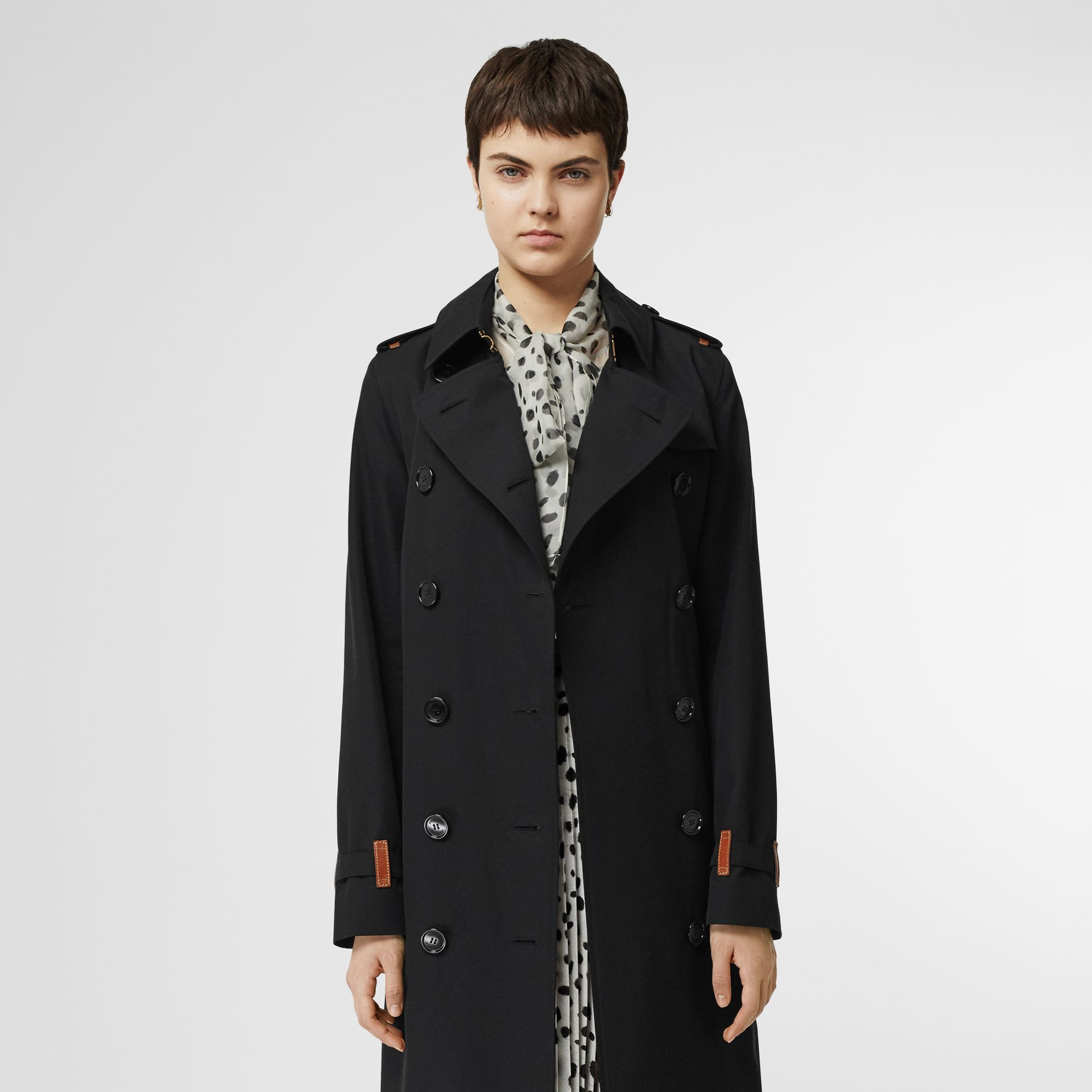 Leather Detail Cotton Gabardine Trench Coat in Black - Women | Burberry Australia - gallery image 6