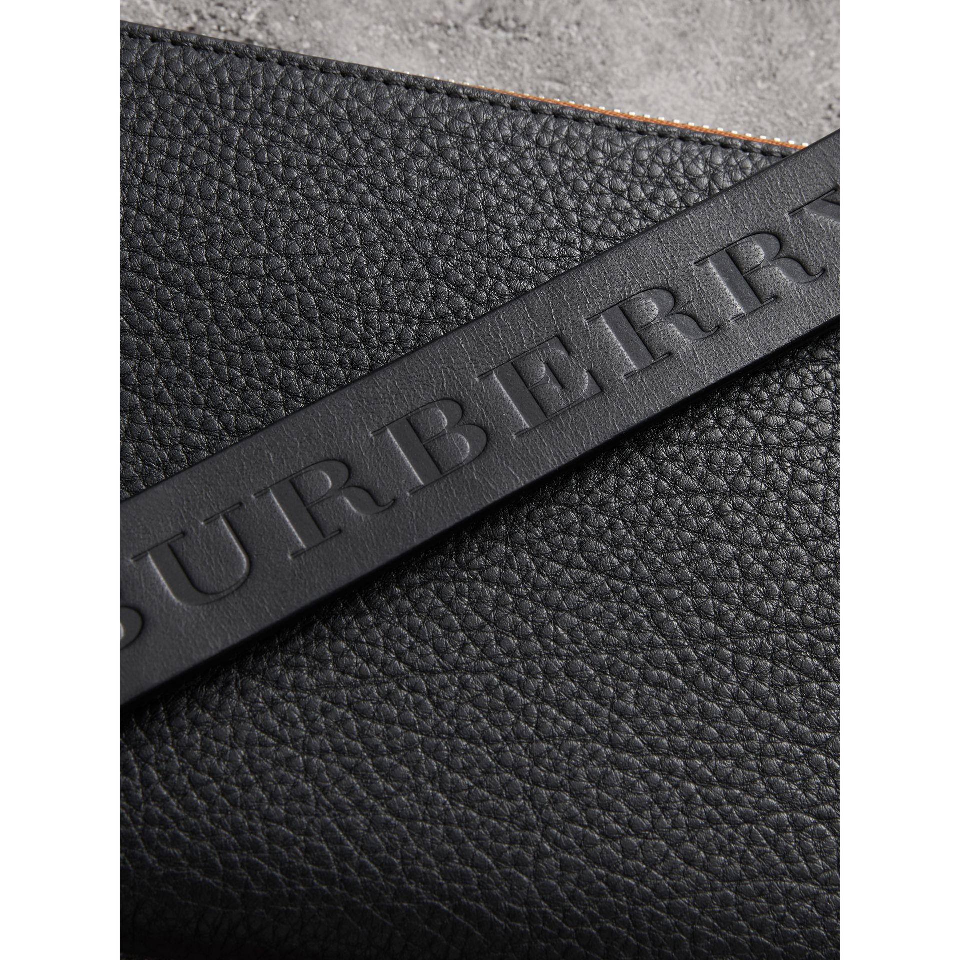 Two-tone Grainy Leather Travel Wallet in Black - Men | Burberry - gallery image 1