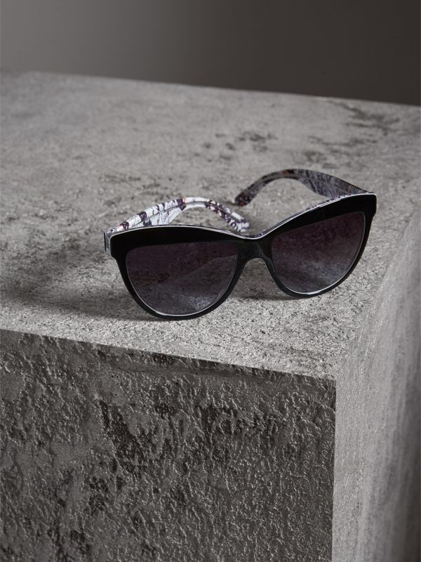 Doodle Cat-eye Frame Sunglasses in Black - Women | Burberry United Kingdom - cell image 2