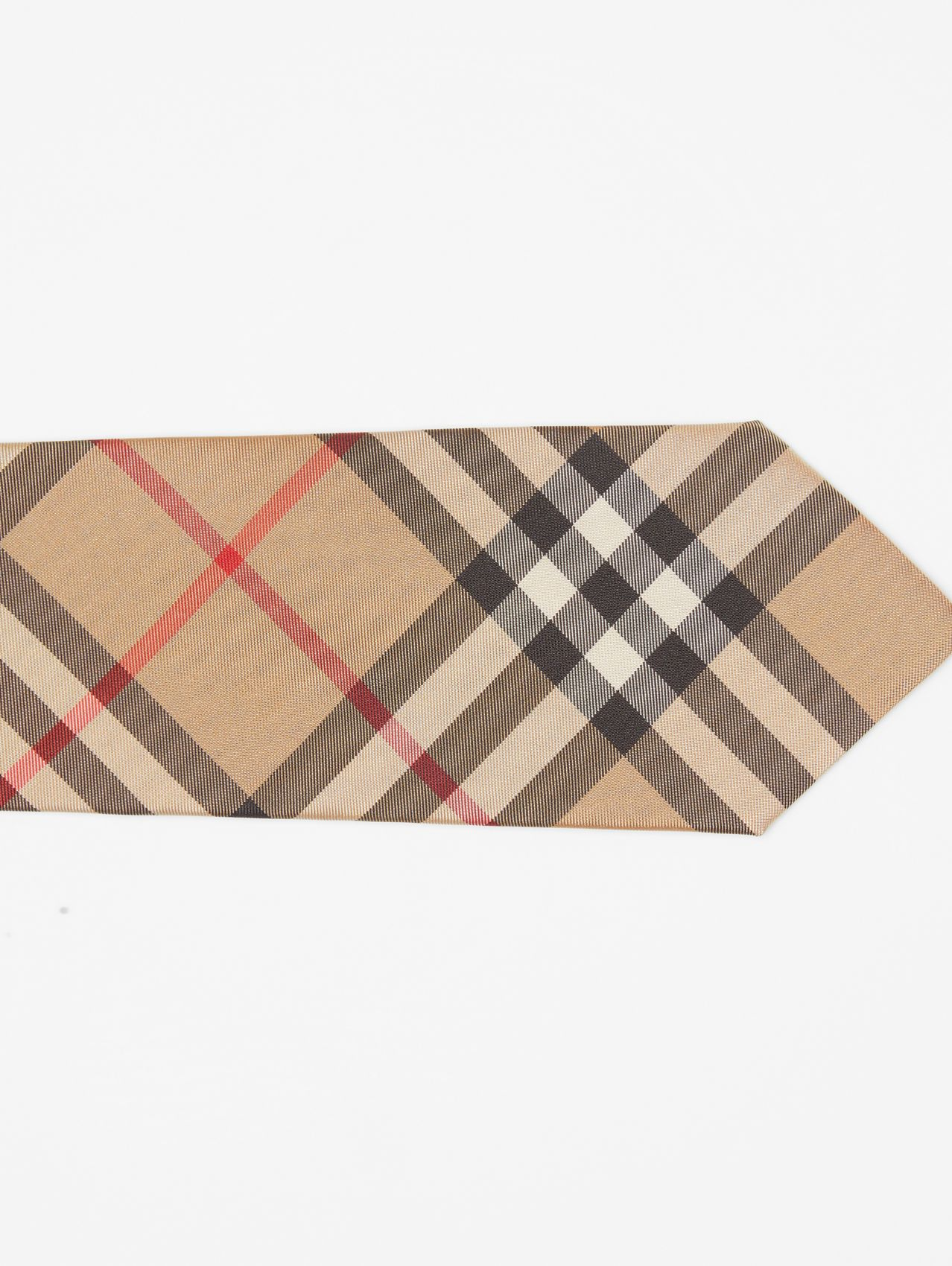 Classic Cut Vintage Check Silk Tie in Archive Beige