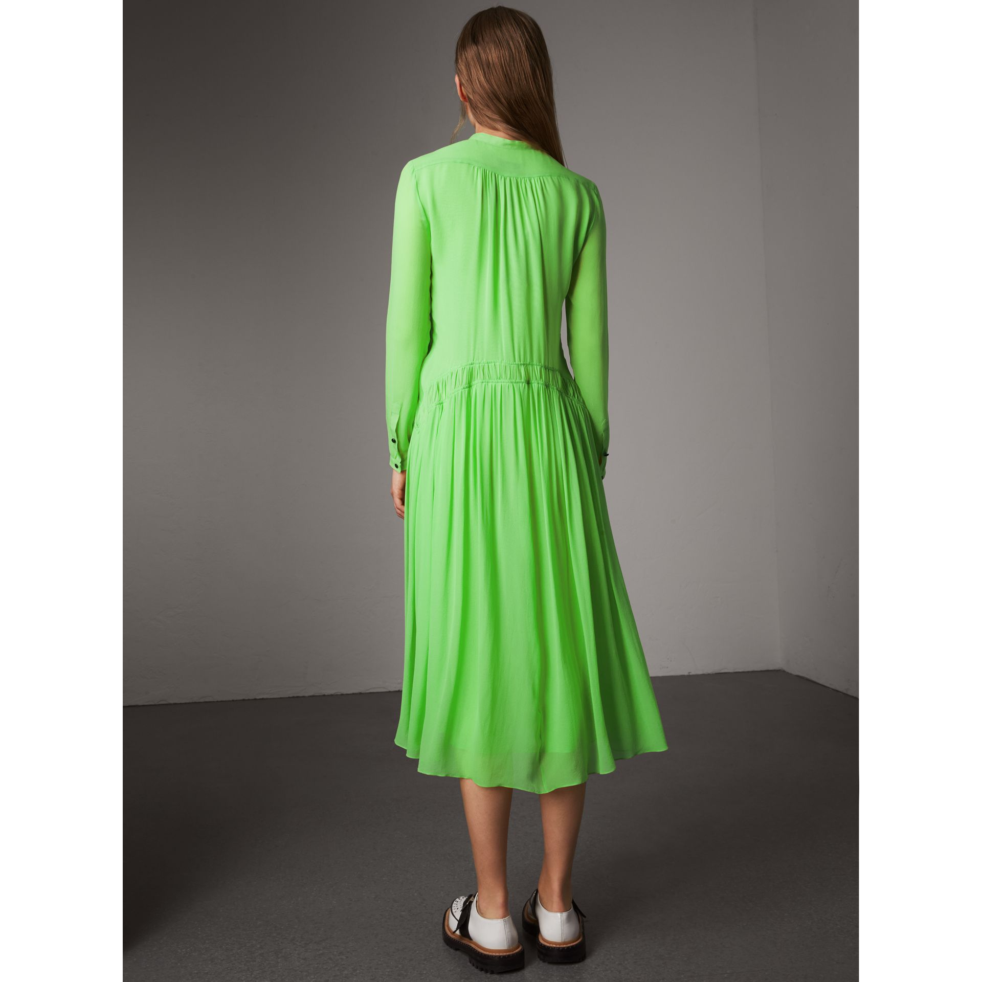 Gathered Silk Georgette Dress in Neon Green - Women | Burberry United Kingdom - gallery image 2