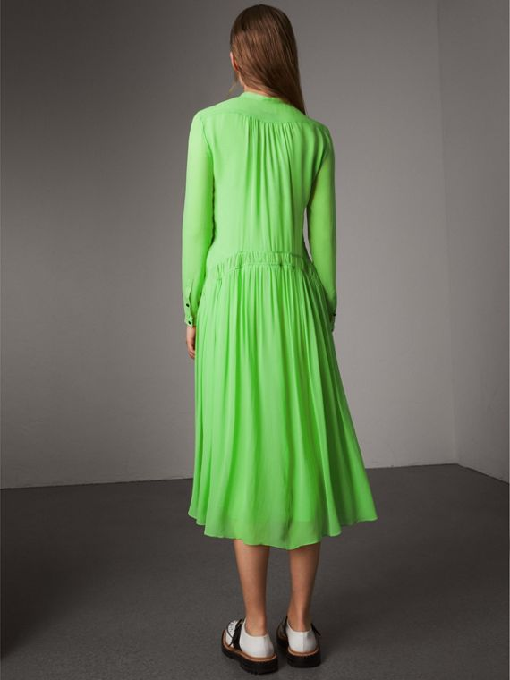 Gathered Silk Georgette Dress in Neon Green - Women | Burberry Hong Kong - cell image 2