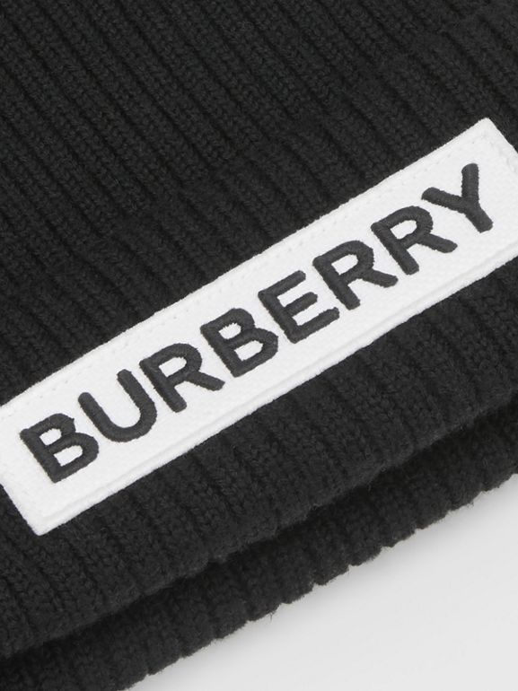 Logo Detail Rib Knit Merino Wool Beanie in Black - Children | Burberry - cell image 1