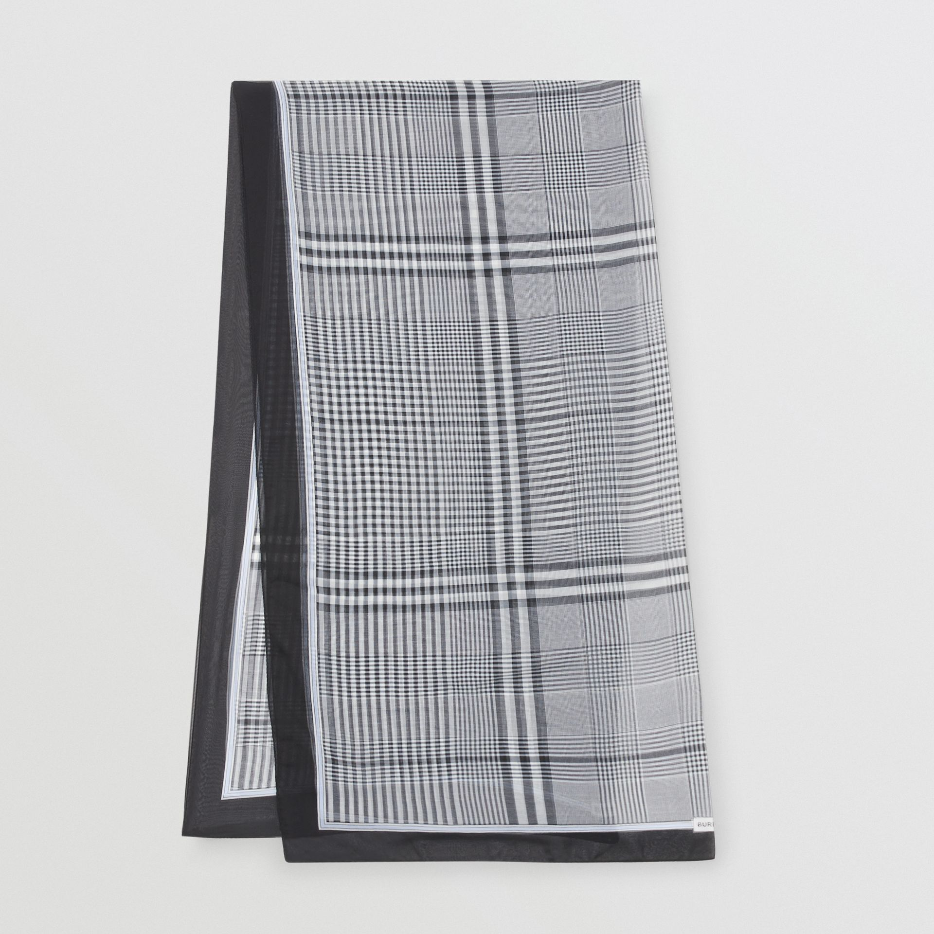Check Print Silk Chiffon Scarf in Black/white | Burberry United States - gallery image 0