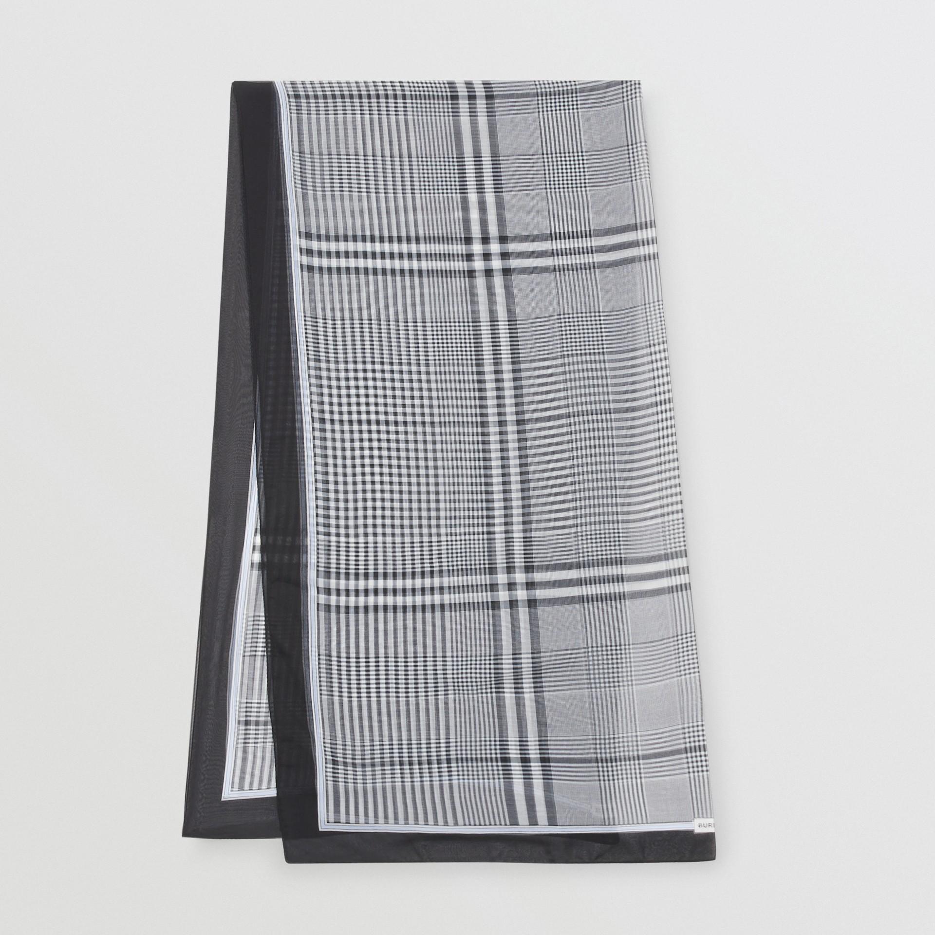 Check Print Silk Chiffon Scarf in Black/white | Burberry - gallery image 0