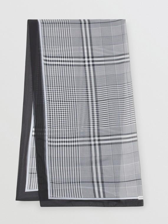 Foulard en mousseline de soie check (Noir/blanc)
