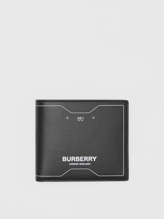 Symbol Print Leather International Bifold Wallet in Black