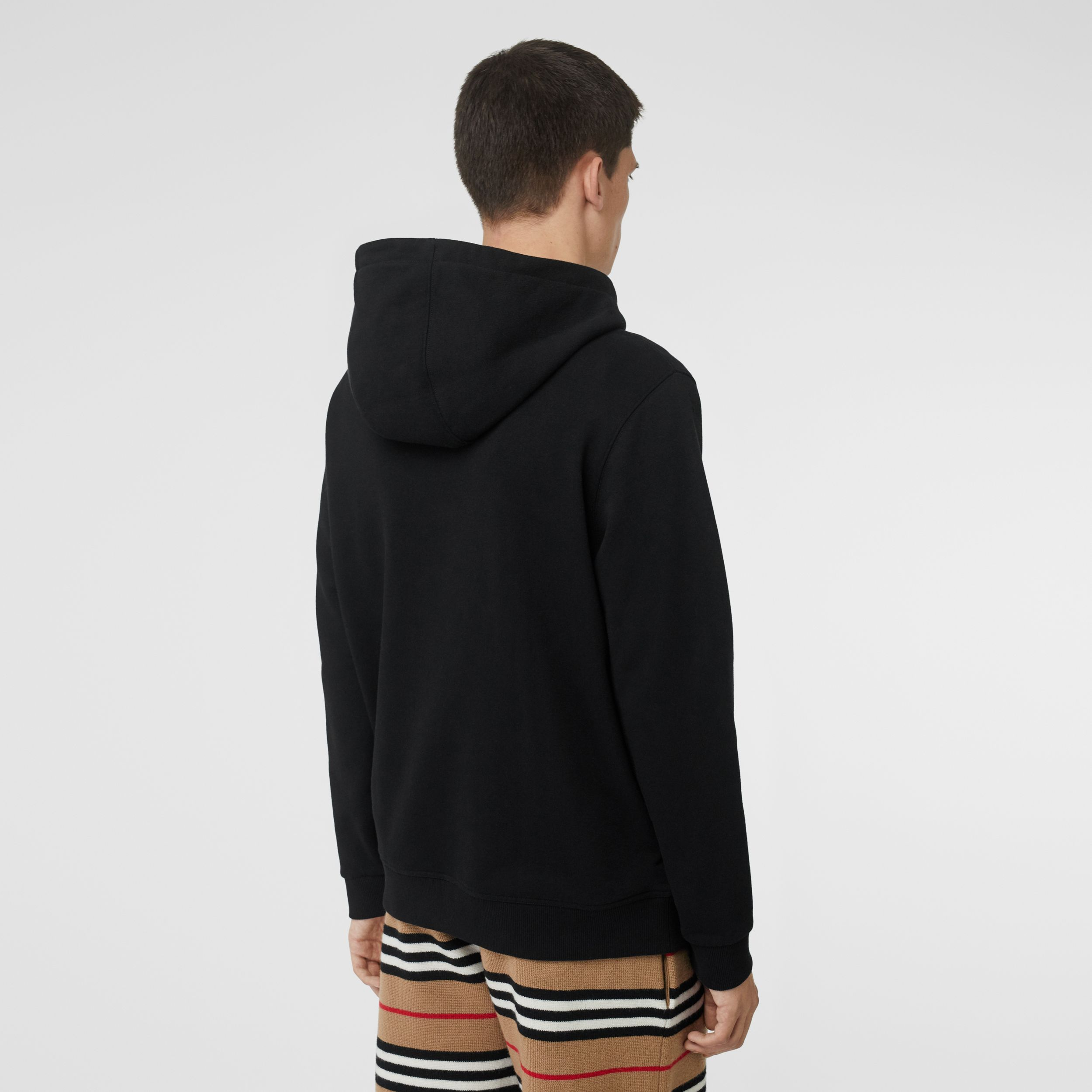 Logo Print Cotton Hoodie in Black - Men | Burberry - 3