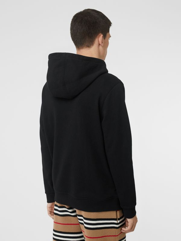 Logo Print Cotton Hoodie in Black - Men | Burberry United Kingdom - cell image 2