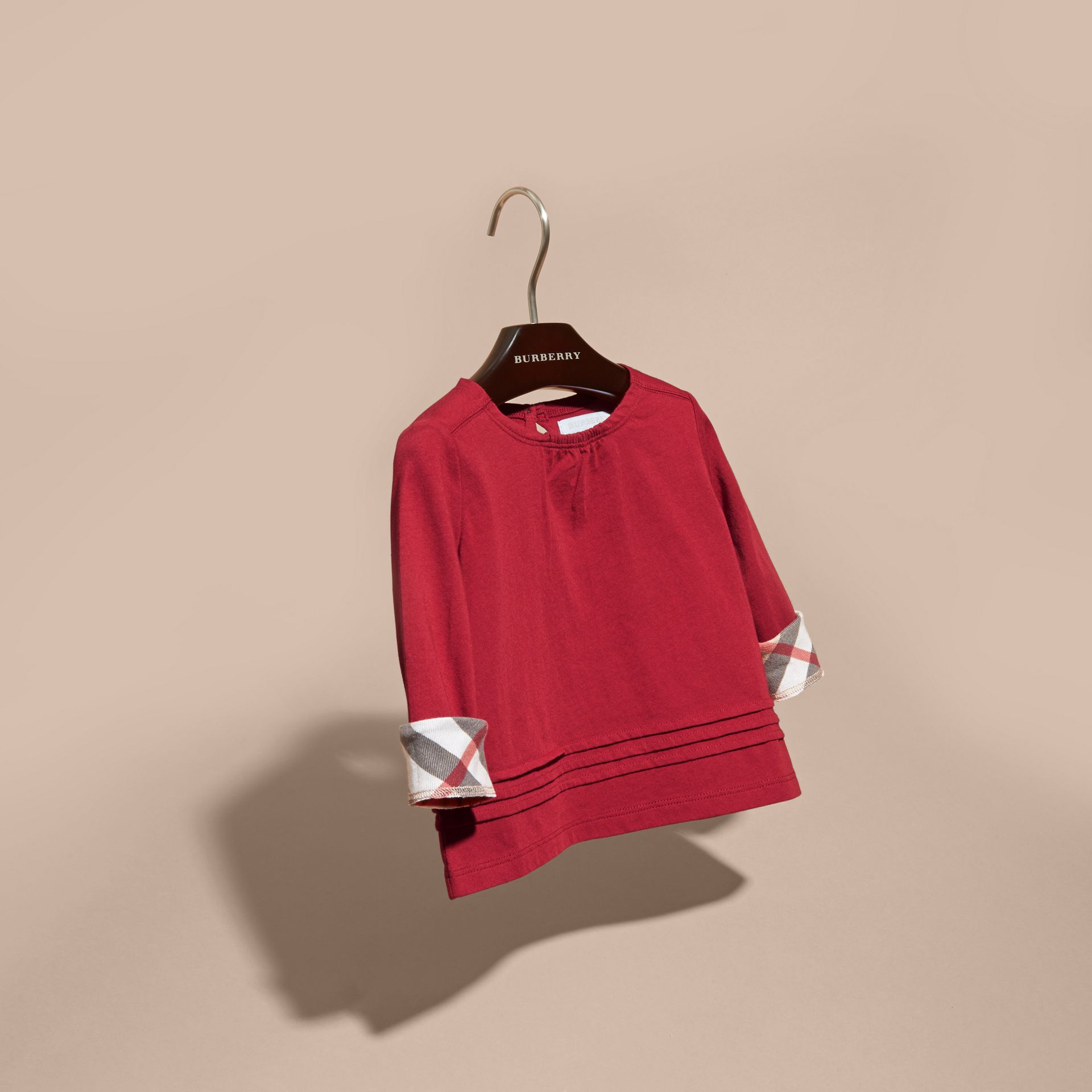 Long-sleeved Check Trim Cotton T-shirt in Parade Red - gallery image 3