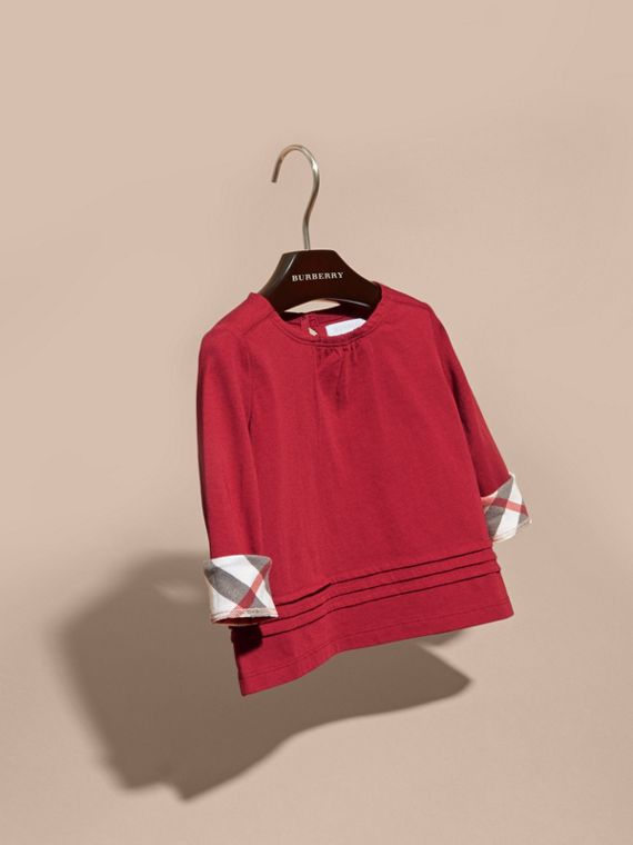 Long-sleeved Check Trim Cotton T-shirt in Parade Red - cell image 2