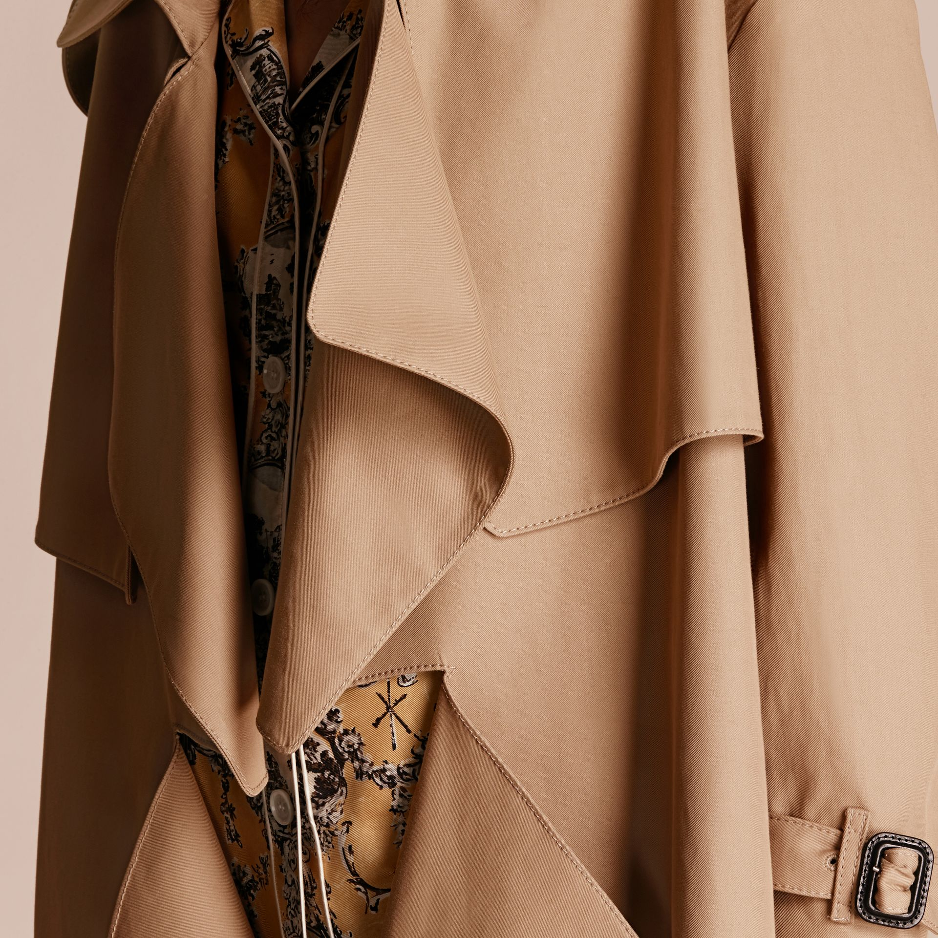 Honey Cotton Gabardine Deconstructed Cropped Trench Coat - gallery image 5