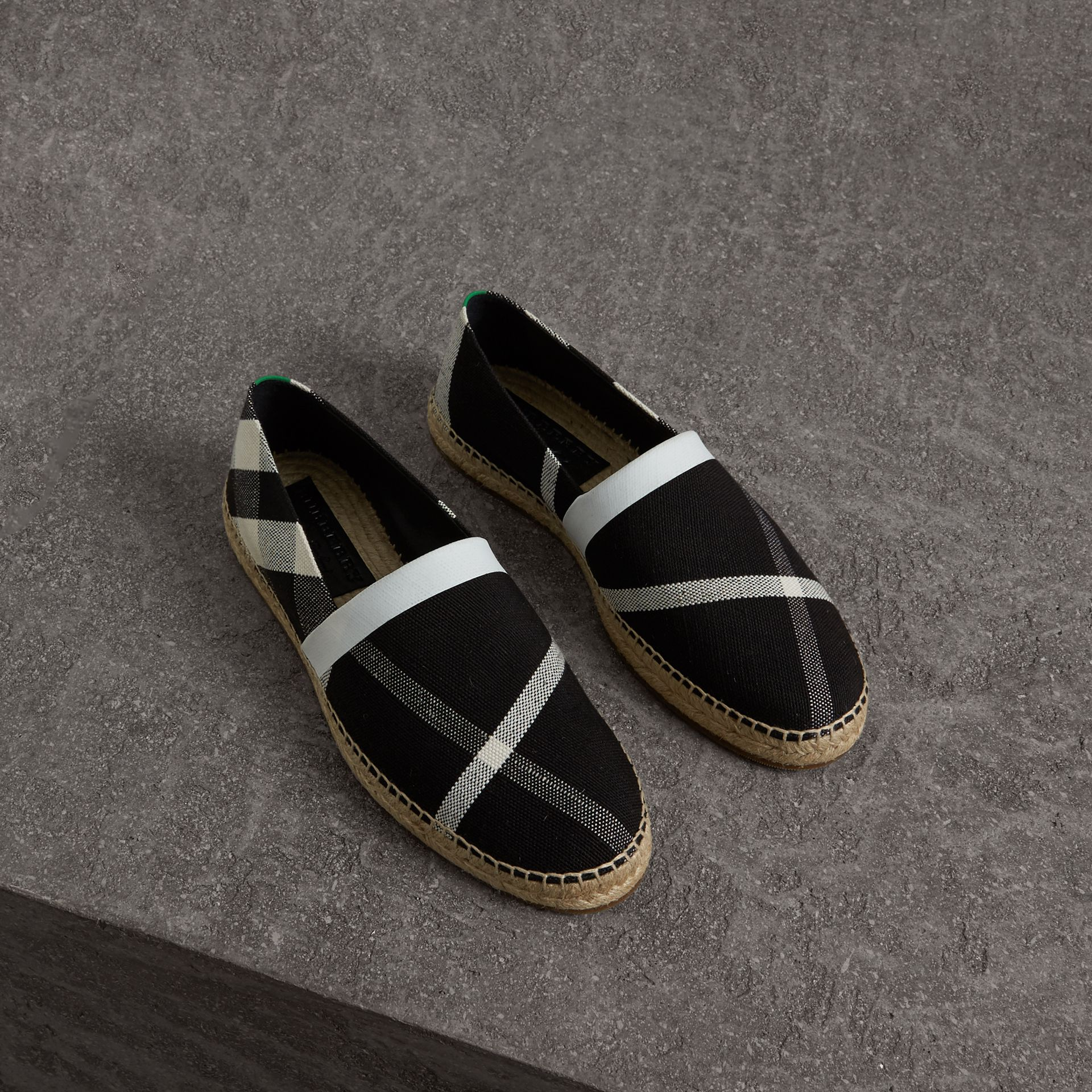 Check Cotton Canvas Seam-sealed Espadrilles in Black - Men | Burberry United Kingdom - gallery image 0