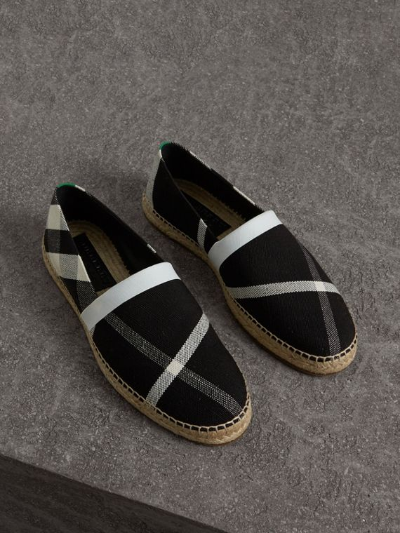 Check Cotton Canvas Seam-sealed Espadrilles in Black