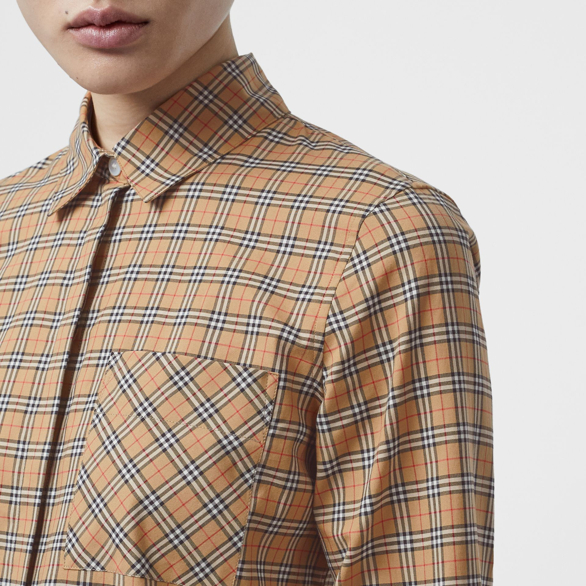 Check Cotton Shirt in Antique Yellow - Women | Burberry United Kingdom - gallery image 1