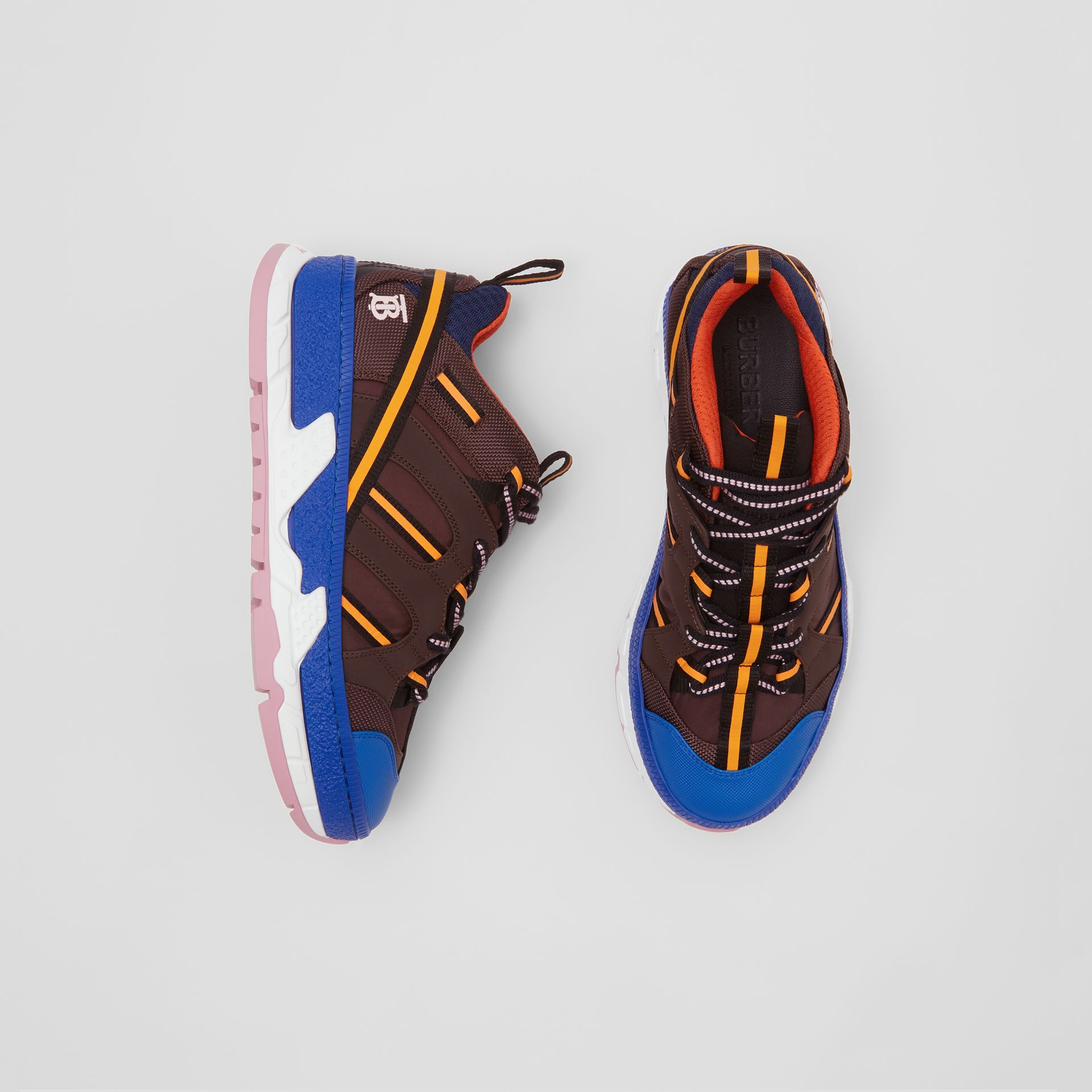 Nylon and Mesh Union Sneakers in Coffee/blue - Women | Burberry Hong Kong - gallery image 0