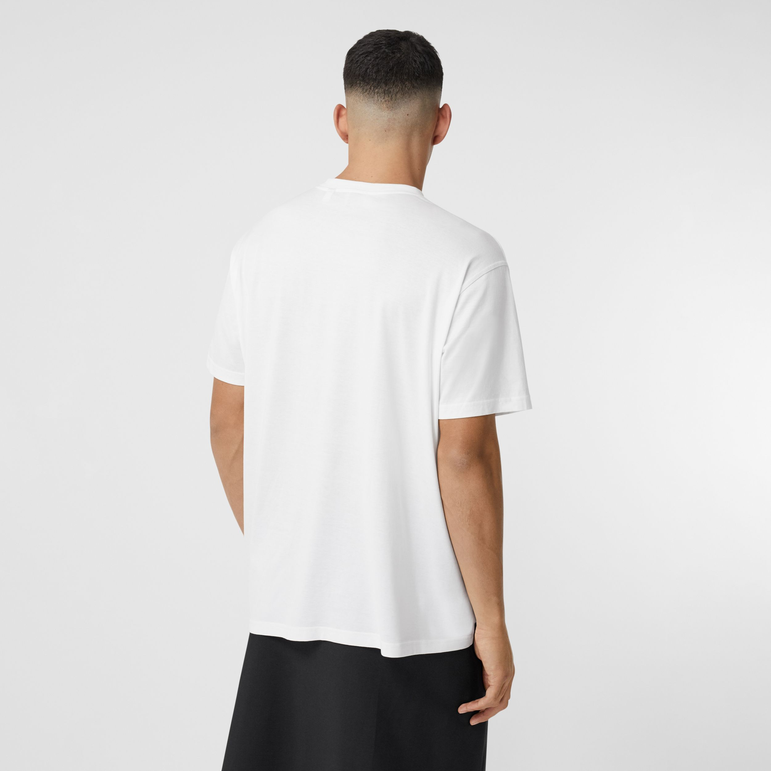 Montage Print Cotton Oversized T-shirt in Optic White - Men | Burberry Australia - 3