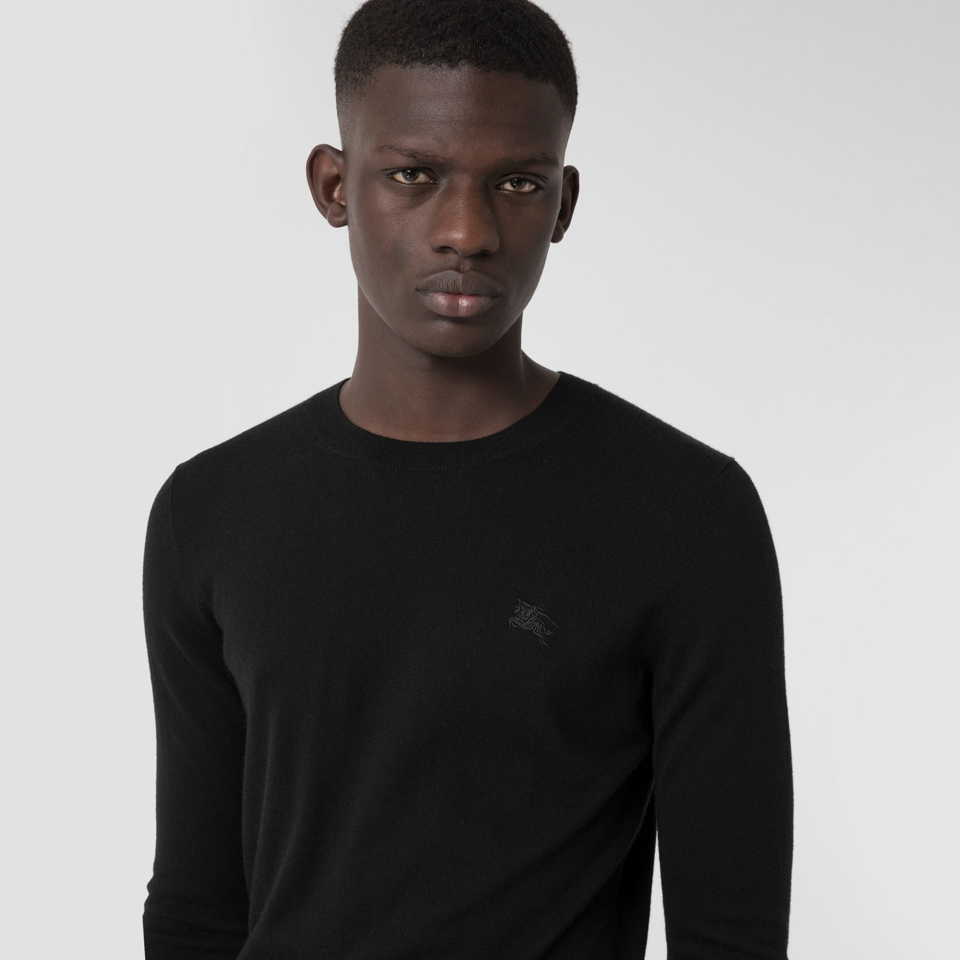 Crew Neck Cashmere Sweater in Black - Men | Burberry - gallery image 1