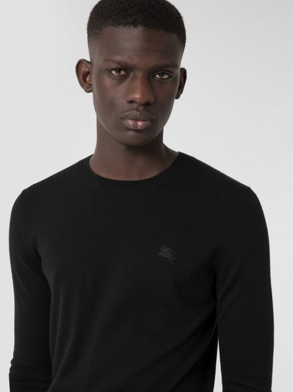 Crew Neck Cashmere Sweater in Black - Men | Burberry Singapore - cell image 1