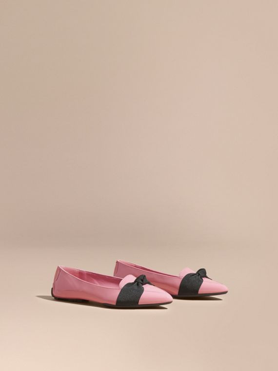 Patent Leather Loafers with Grosgrain Bow Rose Pink