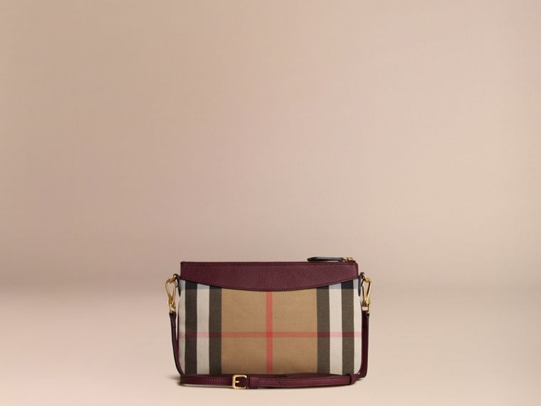 House Check and Leather Clutch Bag in Mahogany Red - cell image 4