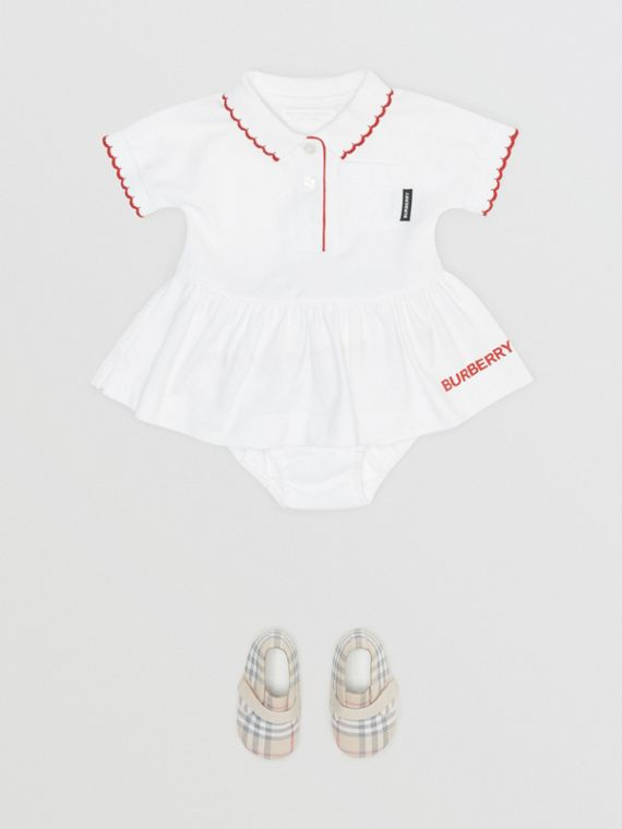 Scallop Detail Stretch Cotton Dress with Bloomers in White