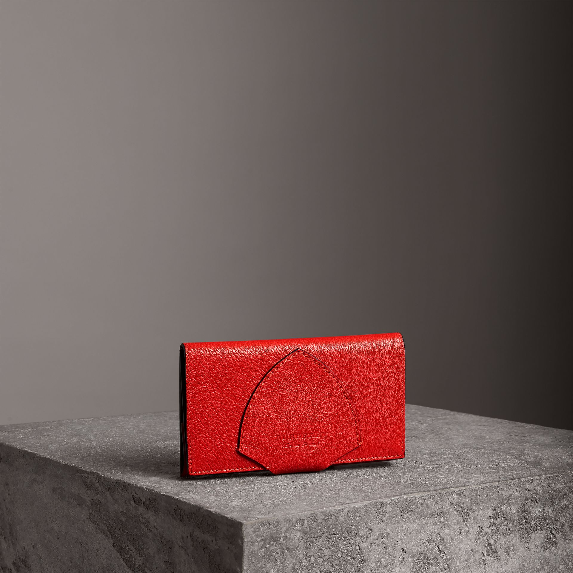 Equestrian Shield Two-tone Leather Continental Wallet in Bright Red - Women | Burberry - gallery image 0