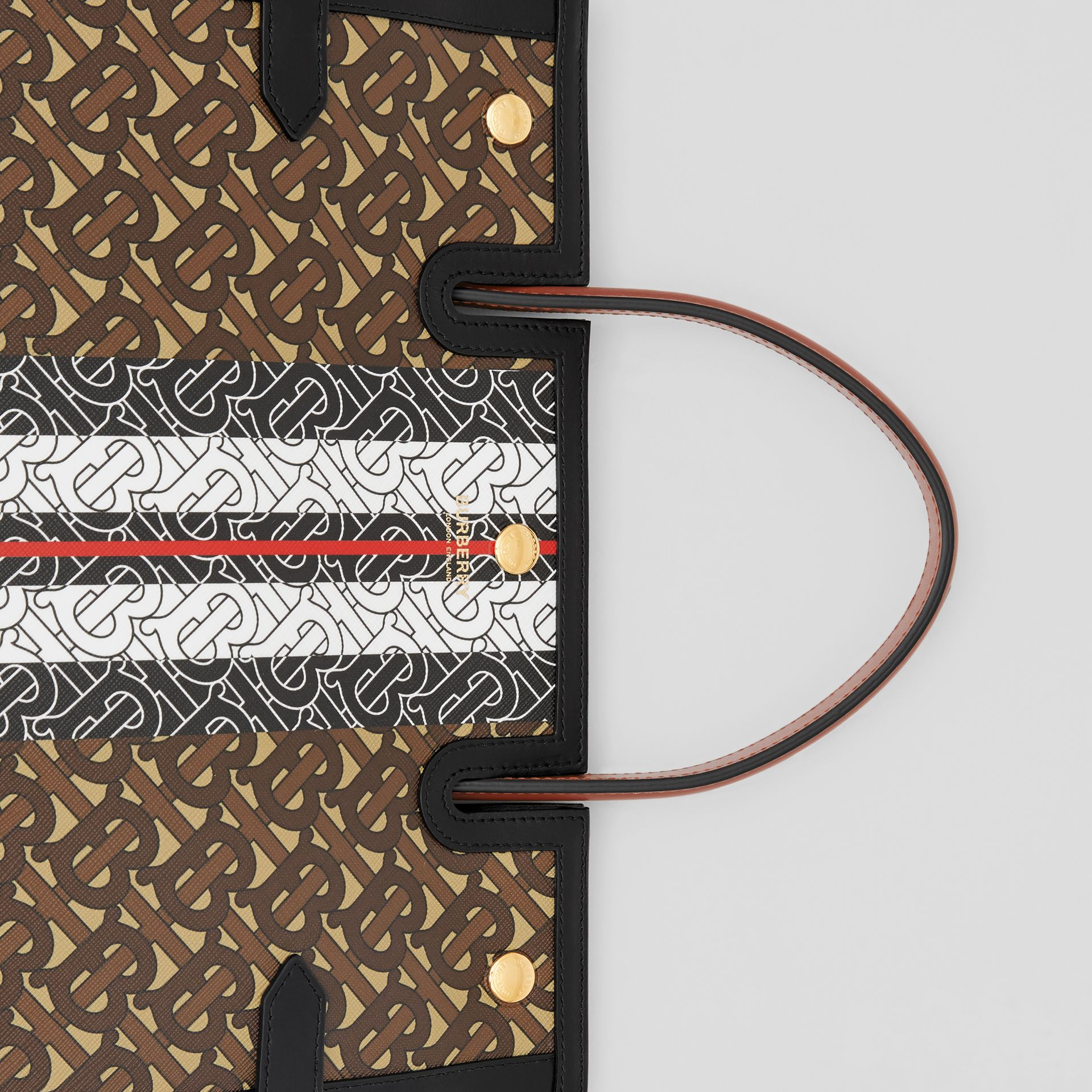 Medium Monogram Stripe E-canvas Title Bag in Bridle Brown - Women | Burberry Hong Kong S.A.R - gallery image 6