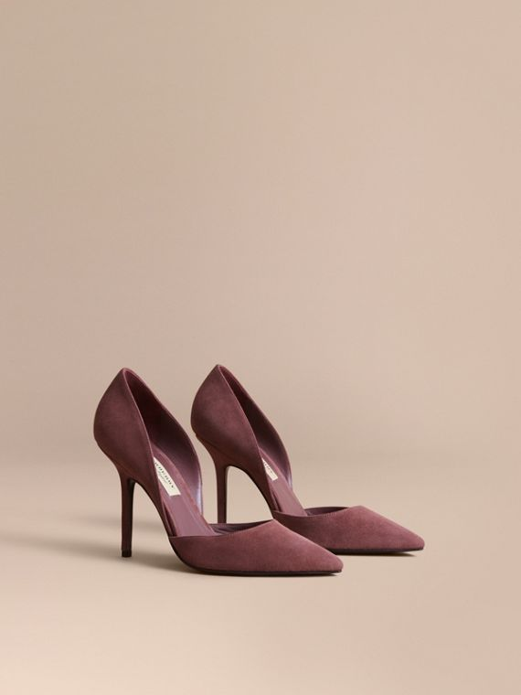 Point-toe Suede D'Orsay Pumps Taupe Rose